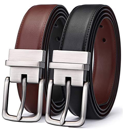 Men's Belt, Bulliant Leather Reversible Belt 1.25' For Mens Dress Casual Golf Belt,One Reverse For 2...