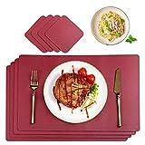 CHONLY Tischsets PU Leder Platzsets 4er Sets Rot