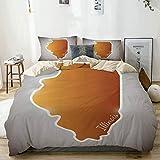 Juego de funda nórdica beige, cartografía de mapa del estado de Estados Unidos, gráfico de provincia topográfico retro, decorativo, juego de cama de 3 piezas con 2 fundas de almohada, fácil cuidado, a