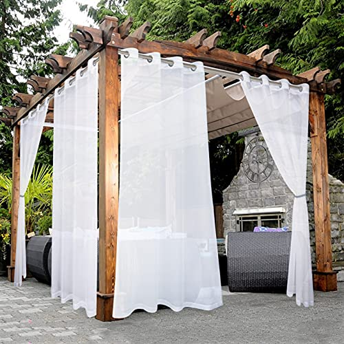 BONZER White Outdoor Sheer Curtains for Patio Waterproof Grommet Indoor Voile Curtain for Living Room, Bedroom, Porch, Pergola, Cabana, Set of 2 Panels, 52 x 84 inch, Beige