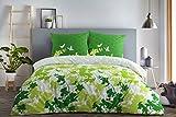 etérea Baumwolle Bettwäsche - Osaka Schmetterlinge - weich und pflegeleicht, 2 teilig 155x200 cm + 80x80 cm, Grün