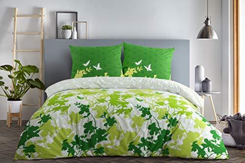 etérea Baumwolle Bettwäsche - Osaka Schmetterlinge - weich und pflegeleicht, 4 teilig 2Stk 135x200 cm + 2Stk 80x80 cm, Grün
