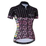 Camiseta de maillot de ciclismo para mujer, negro y rosa, talla M