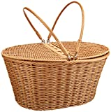 Kovot Picnic Baskets | Measures 16' x 13.5' x 7.5' | for Picnics, Parties and BBQs (Poly-Wicker)