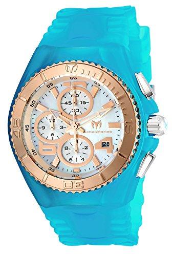 TechnoMarine TechnoMarine Damen-Armbanduhr Armband Silikon Blau Gehäuse Edelstahl Quarz Analog 115289