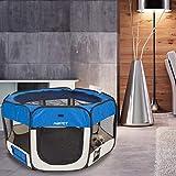 AQPET Box per Animali Cani e Gatti Cuccioli recinto Pieghevole Tessuto Impermeabile (Blu, Blu)