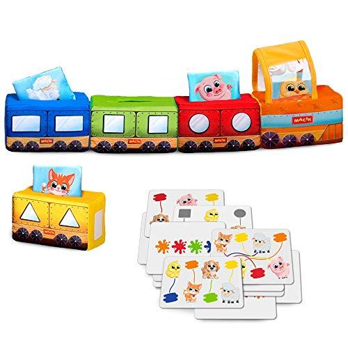 MACIK Zug Baby Spielzeug -Farben + Formen + Logik-Weiches Baby Spielzeug ab 6 Monate - Spielzeug 12-18 Monate - Entwicklungsspielzeug Lernspielzeug - Motorikspielzeug 1 Jahr
