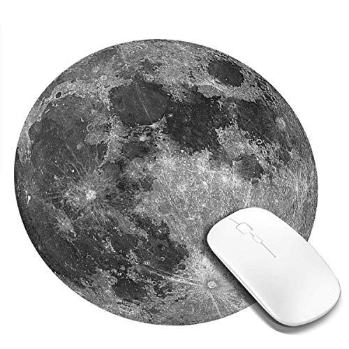 Mouse Pad, Waterproof Non-Slip Rubber Base Mousepad with Stitched Edge Round Mouse Mat for Laptop Computer Pc Office, 7.9 x 7.9 x 0.1 Inch, Earth Grey Moon