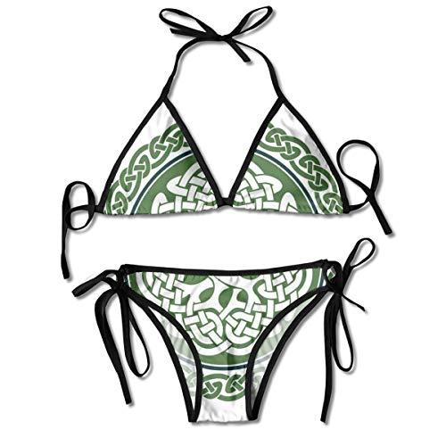 Women's Tie Side Bottom Padding Triangle Bikini Swimsuits,Illustration of Celtic Tree of Life On A Green Circle with Frieze,Bikini Sets Beach Swimwear Bathing Suit