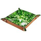 LynnsGraceland Bandeja de Cuero - Organizador - Fotos de Bosque Verde - Práctica Caja de Almacenamiento para Carteras,Relojes,Llaves,Monedas,Teléfonos Celulares y Equipos de Oficina