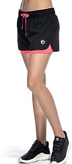 Pantalones Cortos de Deporte 2 en 1 para Mujer Pantalones Cortos Deportivo de Yoga para Hacer Ejercicio Pantalones Cortos para Deporte al Aire Libre Respirable