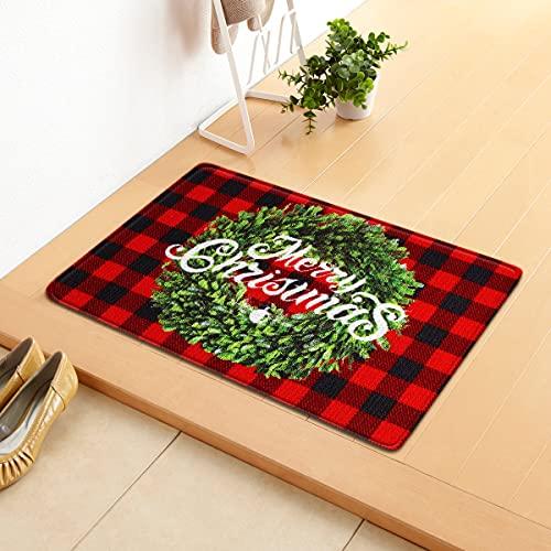 Christmas Doormat Non-Slip Floor Mat Santa Claus Door Mat Decoration Entrance Floor Blanket Indoor Outdoor Welcome Decor Mats-A(40&60cm)
