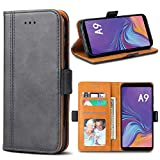 Bozon Handyhülle für Galaxy A9 2018, Lederhülle mit Kartenfächer, Schutzhülle mit Standfunktion, Klapphülle Tasche für Samsung Galaxy A9 (2018), Schwarz-Grau