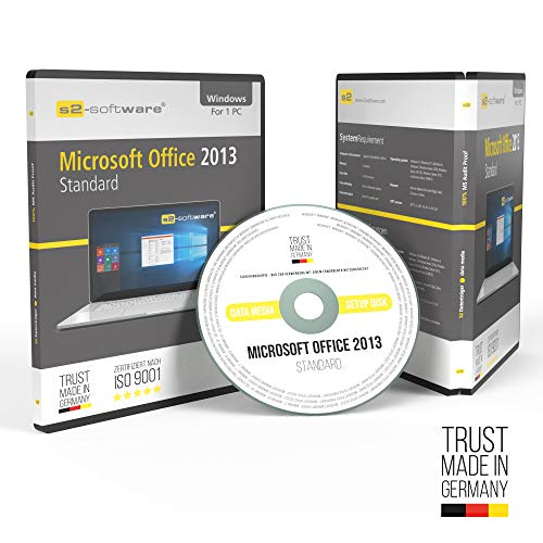 Microsoft® Office Professional (PRO) Plus 2013 Original-Lizenz. S2+ ISO DVD. 32&64 bit. Deutsche Version. Audit Sicher + Papiere