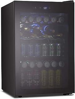 Kismile 4.5 Cu.ft Beverage Refrigerator and Cooler,126 Can Mini Fridge Glass Door with Digital Temperature Display for Sod...