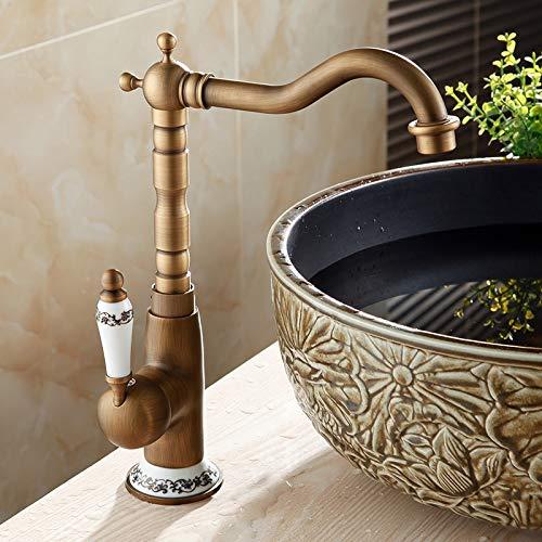 JINQIANSHANGMAO Faucets de Lavabo Antiguo Baño Baño Mezclador Sola Manejo Agujero Single WC Baño Grifo Latón Tapón Caliente y Frío (Color : Antique A)