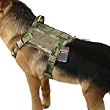 EXCELLENT ELITE SPANKER Tactical Service Dog Vest Training Hunting Molle Nylon Water-resistan Military Patrol Adjustable K9 Dog Harness with Handle(MCP-L)