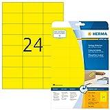 HERMA 4466 Farbige Etiketten DIN A4 ablösbar (70 x 37 mm, 20 Blatt, Papier, matt) selbstklebend, bedruckbar, abziehbare und wieder haftende Farbetiketten, 480 Klebeetiketten, gelb