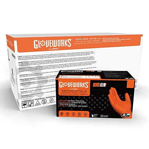GLOVEWORKS HD Industrial Orange Nitrile Gloves with Raised Diamond Texture Grip, Case of 1000, 8 Mil, Size X-Large, Latex Free, Powder Free, Textured, Disposable, Food Safe, GWON48100