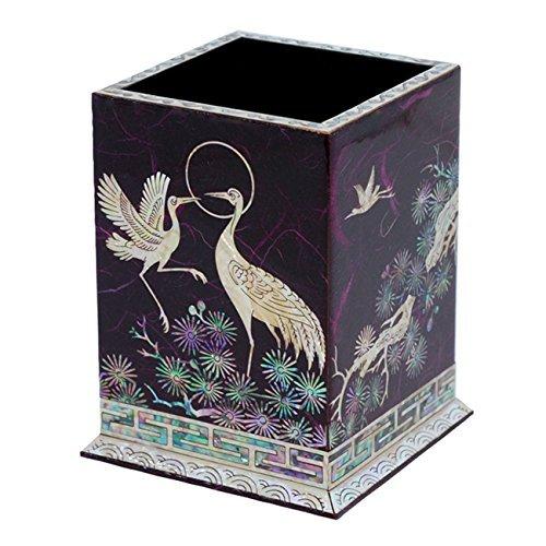 Pot a Crayons Stylos Bois Artisanat Coreen Nacre Asie Violet SPIRITUALITE