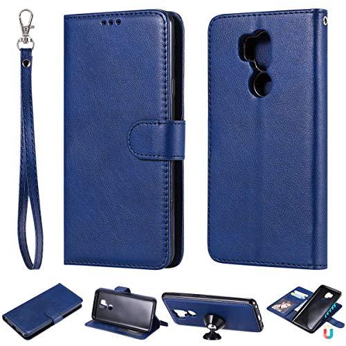 JEEXIA® Schutzhülle Für LG G7 ThinQ / G7 Fit / G7 One, Magnetisch Abnehmbar PU Lederhülle Flip Cover Brieftasche Innenschlitzen 2 in 1 Handy-Hülle (ohne Saugnapf) - Blau