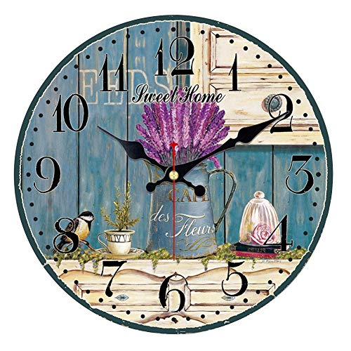 ShuaXin French Style Lavender 12 Inch Wall Clock for Kids,Non Ticking Silent Wooden Romantic Flower Decorative Wall Clock for Kitchen,Bedroom,Office