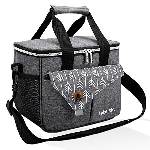 Lekesky Insulated Lunch Bag for Women Lunch Box Adults, Leakproof Cooler Tote Bag for Men, 16-Can, Grey