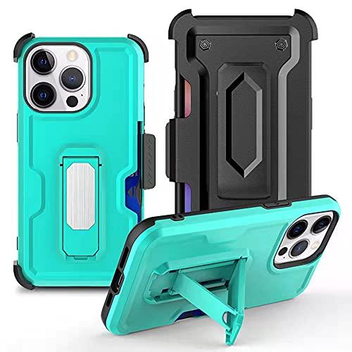 Progettata per Custodia per iPhone 13 Pro Max 6.7 Inch, Protettiva per Cover di Livello con cavalletto potenziato Cavalletto,protezione a due strati ancorati a corpo pieno resistente agli urti(Verde)