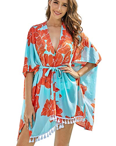 AS ROSE RICH Kimonos for Women - Beach Coverups for Women - Plus Size Cardigan - Floral,Multi Color 2X Aqua Blue
