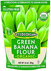 LETS DO ORGANIC GREEN BANANA FLOUR, IN POUCH WITH IMAGE OF GREEN BANANAS, FOR SINGLE INGREDIENT GROCERIES
