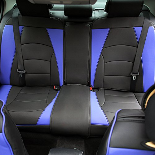 FH Group PU205013 Ultra Comfort Highest Grade Faux Leather Seat Cushions (Blue) Rear Set – Universal Fit for Cars Trucks & SUVs