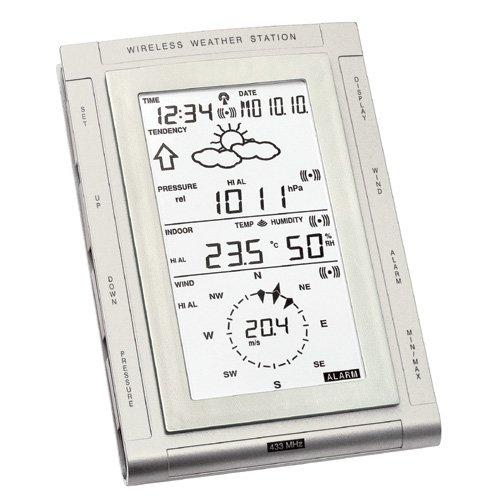 Technoline, Wettercenter WS 2307, Silber, 4-teilig bestehend aus Station,Außensender WS2300-25, Regensensor WS2300-16 und Windsensor WS2300-15, 11,8 x 3 x 17,9cm