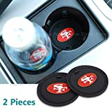 49ers - 2 Pack 2.75 inch for San Francisco 49ers Car Interior Accessories Anti Slip Cup Mat for All Vehicles (San Francisco 49ers)