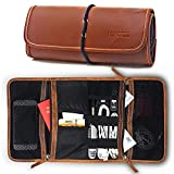 Leather Travel Organizer Bag for Cables, Small Electronics, Passport Holder, Mesh Zippered Pockets for USB Drive, Phone, Battery, SD Card, SIM Card, Unisex Gift