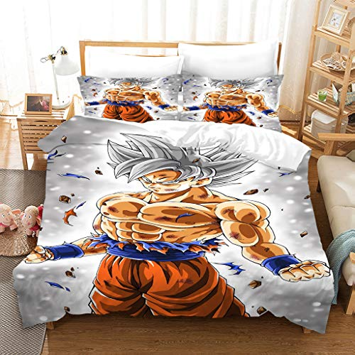 GDGM Dragon Ball Super Kinderbettbezug 135 x 200 cm, Kissenbezug 75 x 50 cm Bettbezug Bettwäscheset Zwei Kissenbezüge, Mikrofaser, 3D-Digitaldruck (A10,200x200cm+80x80cmx2)