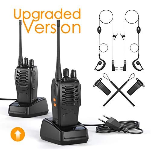 OWSOO Walkie Talkie Professionali Ricetrasmittenti VOX Radio PMR 446MHz Ricetrasmittente Portatile 1500 mAh (2pz)