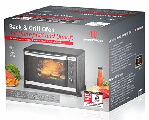 Rommelsbacher BG 1550 Back & Grill Ofen (1550 Watt, mit Drehspieß) schwarz