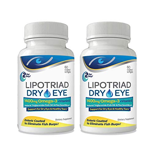Lipotriad Dry Eye Formula - 1400mg Omega-3 Supplement –Natural Triglyceride Fish Oil + Organic Flax Seed and Vitamin E - Support for Natural Tear Production - 60 Enteric Coated Softgels – 2 Pack