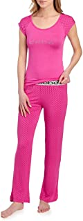 bebe Womens Pajama Top Shirt and Lounge Pants Sleepwear Set