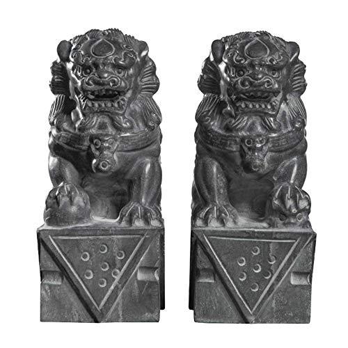WXQY Chinesische Messing Kupfer Statue FOO Hunde Löwen Paar,Steinfiguren Chinesische Wächterlöwen Shishi Fu Hunde
