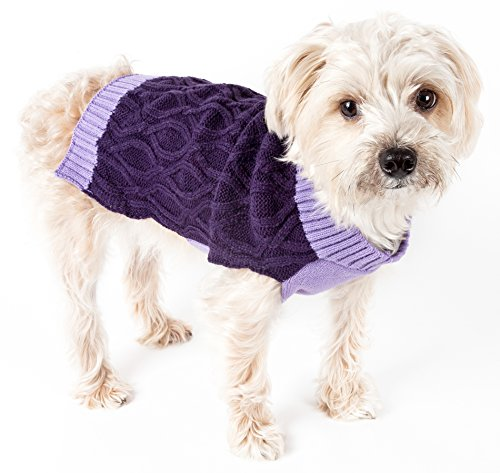 PET LIFE 'Oval Weaved' Heavy Cable Knitted Fashion Designer Pet Dog Sweater, Small, Lavender and Dark Purple