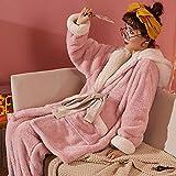 STJDM Bata de Noche,Winter Sweet Plus Velvet Pijamas para Mujer Cardigan Sólido con Cordones Color a Juego Pantalones con Capucha Top 2pc Set Loose Warm Home Sleepwear M Rosa