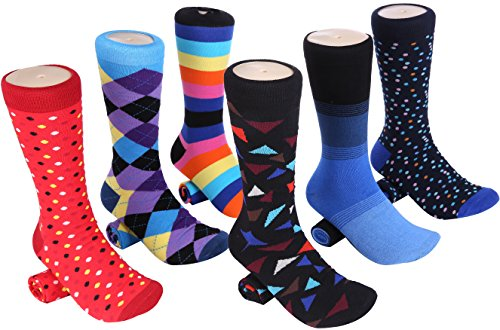 Mio Marino Men's Dress Socks - Colorful Funky Socks for Men - 6 Pack (Cool Collection, 13-15)