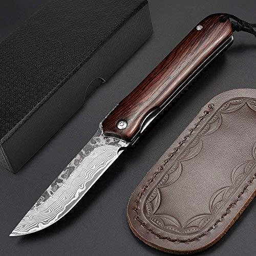 NedFoss Damast Taschenmesser Klappmesser ELK, Damaststahl Messer Outdoor Damastmesser Folder Knife 7cm Klinge (Schwarz)