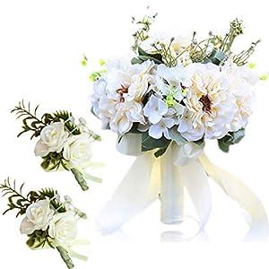 Silk Flower Arrangements HL1971 Bridal Bouquet Wedding, Silk Carnation Wedding Bouquet, Suitable for Wedding, Proposal, Party, Church (Free Two Corsages) (White)