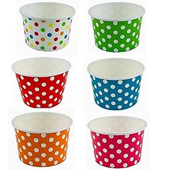 Worlds Paper Ice Cream Cups Polka Dot Paper Yogurt Cups 4oz Mix 50 pack