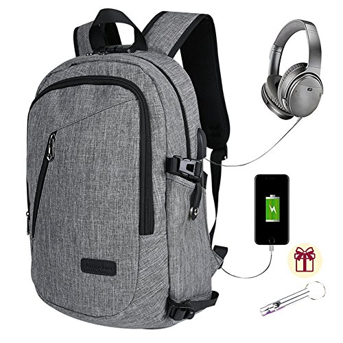Business Laptop Backpack College School Bags with USB Charging and Headphone Port Waterproof Anti Theft Travel Rucksack for Men and Women, Fit 15.6 Inch Laptops Tablets-Grey (Grey)