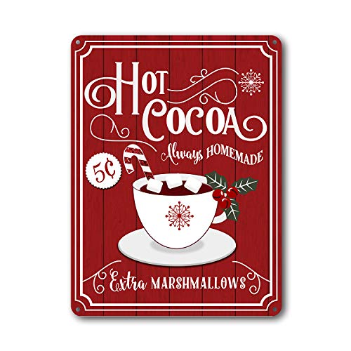 Goutoports Christmas Decor Signs Farmhouse Decorative Red Hot Cocoa Vintage Wall Decorations - Cup of Cocoa 7.9x11.8 Inch
