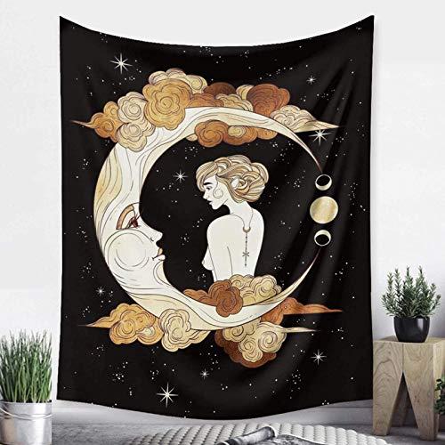 Tapiz con impresión 3D, diseño de luna, diseño de estrellas, lunar, eclipse lunar, para colgar en la pared, para dormitorio, sala de estar, decoración del hogar, regalos