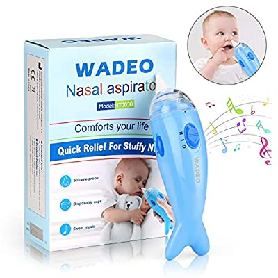WADEO Baby Nasal Aspirator, Electric Nose Suction for Baby, Automatic Nose Cleaner Booger Sucker for Infants, Battery Operated Snot Sucker Mucus Remover for Newborns Toddlers